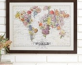 Bouquet Vintage Wall Map Art
