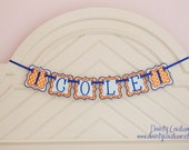 Boy First Birthday Fabric Banner - Orange, aqua, and royal blue - Priced per banner piece