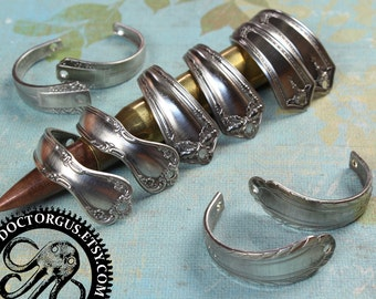 Curved Spoon Handle Bracelet Parts - Matched Pairs - Antique Sterling Silver Plated Silverware Component - Make Spoon Jewelry Metal Stamping