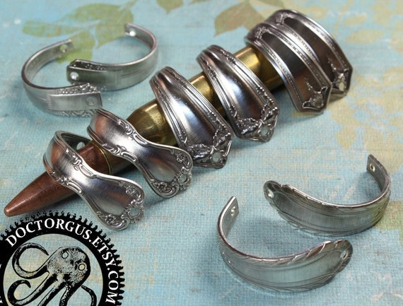 Curved Spoon Handle Bracelet Parts - 5 Pairs - Antique Sterling Silver Plated Silverware Components - Make Easy Spoon Jewelry Metal Stamping