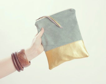 Gold Wedding Clutch. Mint Green Suede Clutch. Metallic Bridesmaid Bag. Pastel and Metallic.