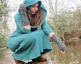 ORGANIC Super Cowl Simplicity Long Fleece Dress (FLEECE Hemp/Organic Cotton Knit ) - organic winter dress
