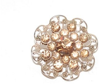 flower rhinestone pin brooch vintage amber colored gold toned metal setting