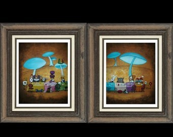 Whimsical Art Fairytale Print Set - Alice in Wonderland - Mad Hatters Tea Party -- Two 8 x 10 Inch Prints