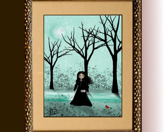 Zodiac Art Goth Girl Art Print  -- Astrological Sign --  CANCER