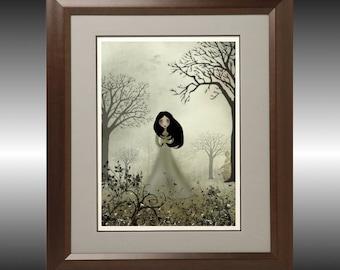 Art  Digital Painting -  Melancholy Girl Art  Print --- Ides of March --  8x10