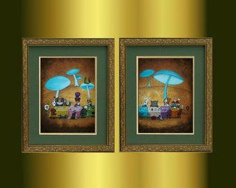 Alice in Wonderland Art -- Mad Hatters Tea Party -- Limited Edition Print Set  -- 12x16
