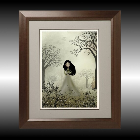 Art  Digital Painting -  Melancholy Girl Art  Print --- Ides of March --  8x10