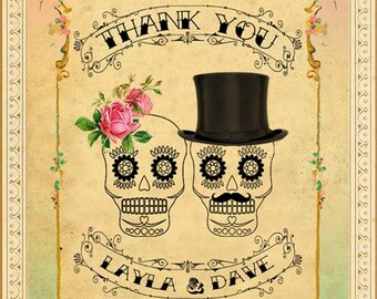 Printable DIY Wedding Thank You Card - Digital Download - Customized Vintage Mexican Sugar Skulls Day of The Dead - Mint & Pink Ombre