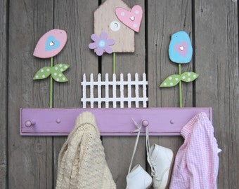 BIRD & NATURE Clothing Peg Rack - Original Hand-Painted Wood