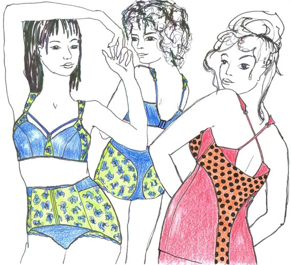 Sewing pattern MIX5L for Big Size Wireless Tankini and Bra and Corset pantie