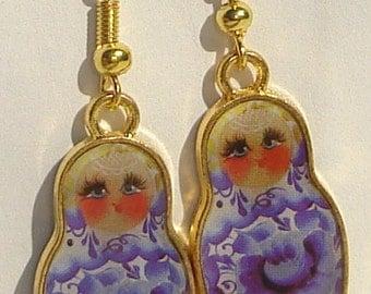 Pierced Earrings Russian Matryoshka Nesting Doll hand made pierced dangle charm earrings
