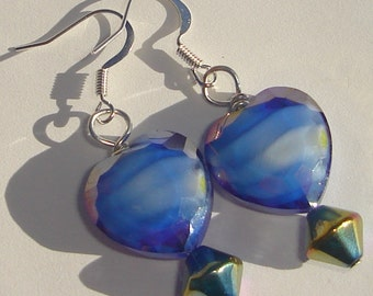 European style milifiori with ab glaze blue glass hearts hand made pierced dangle wire wrapped earrings