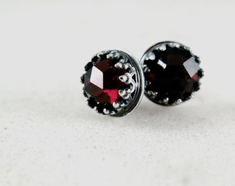 Garnet stud earrings, Sterling Silver,  red gemstones, January birthstone jewelry