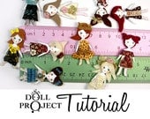 Mini Collage Dolls PDF Tutorial How to Make Dress and Wig Miniature Dolls Printable Graphic Template Included
