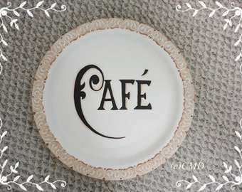 Cafe Round Tray French Sign, Hand Painted, ECS, CSSTeam