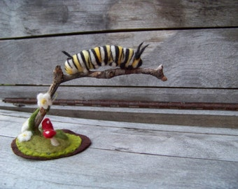 Needle Felted Monarch Caterpillar on Branch-Slice of Spring Sculpture