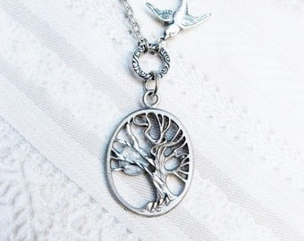 Silver Tree Necklace - TREE OF LIFE - Sleepy Hollow - Jewelry by BirdzNbeez -  Wedding Birthday Bridesmaids Gift
