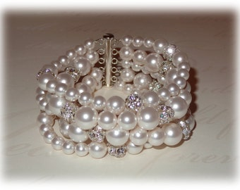 5 Strand Pearl Bracelet, Bridal Cuff, Pearl Cuff Bracelet, Wedding Cuff, Pearl Bracelet, Pearl Cuff, Rhinestones, Ivory White