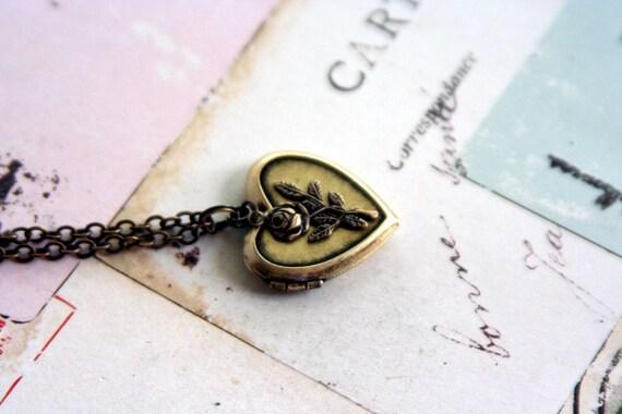 rose. locket necklace. brass ox