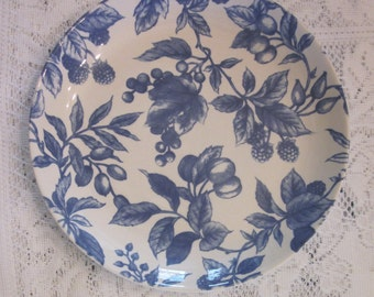 Vintage Stoneware Plate - Blue and White Fruit