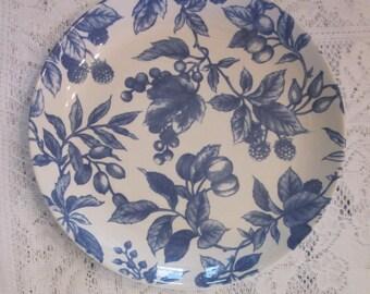 Vintage Stoneware Plate - Century Stoneware Blue and White Fruit - Wall Art
