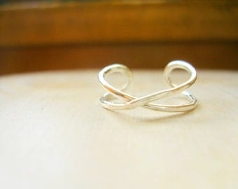 Sterling Silver Infinity Toe Ring, Pinky Ring, Knuckle Ring, Best Friends Ring, Sisters Ring, Adjustable MADE TO ORDER