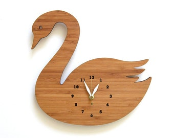 Swan Wall Clock Kids Room, Decorative Room Decor for children and adults