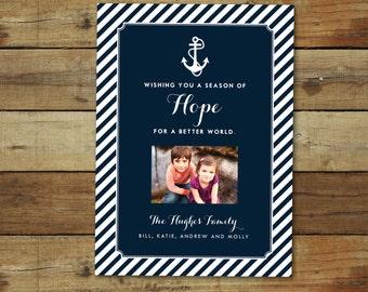 Anchors nautical holiday card, New Years card or Christmas card, photo card