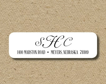 Monogrammed return address labels, self-adhesive return address stickers - for wedding invitations or shower thank you notes