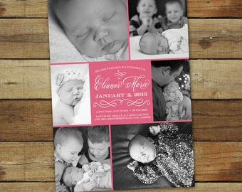 baby photo collage birth announcement - baby girl birth announcement - custom colors