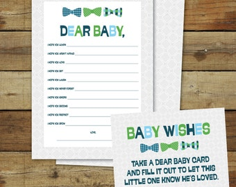 Bow ties baby wishes printable baby shower game, dear baby, instant download, baby boy