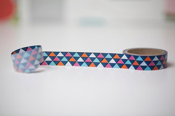 Geometric triangles washi tape in pink, orange and blue