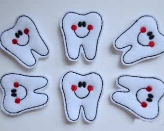 Happy Tooth with Red Cheeks Felt Embroidered Embellishments - 186