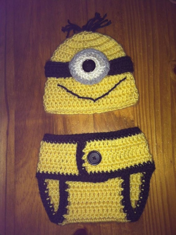 Crochet Newborn MINION Hat & Diaper Cover Set PHOTO PROP