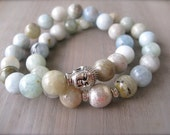 Aquamarine Stackable Bracelet, Stretch Aquamarine Bracelet, Buddha Bracelet, Pre-Season Sale