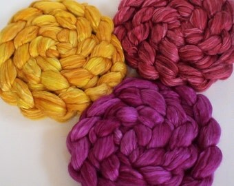 Roving for spinning  80/20 50/50 hand dyed silk merino semi solid roving PRE ORDER 2ozs Mexico