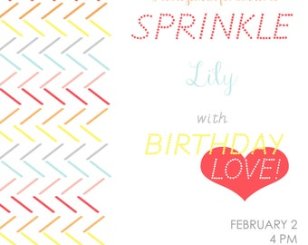 printable invitations- SPRINKLED WITH LOVE birthday party baby shower