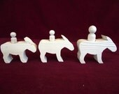 Set of 3 Chunky Standing Donkeys with Peg Doll Riders, Unfinished