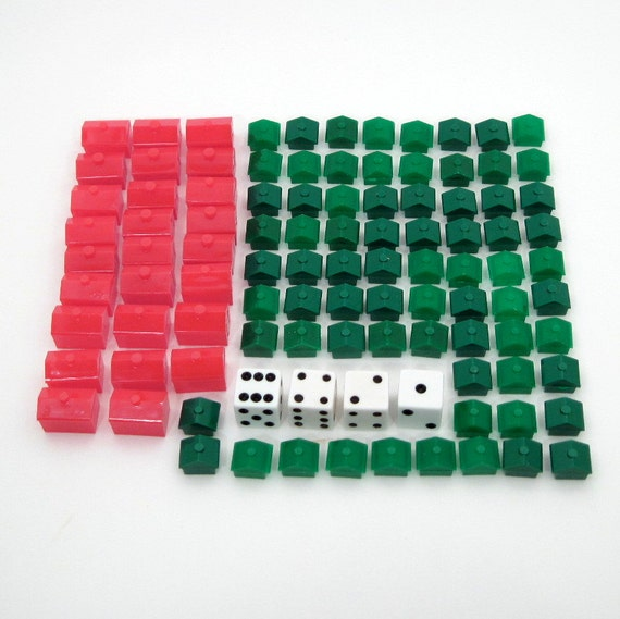 Monopoly Houses and Hotels - Monopoly Pieces - Board Game Markers