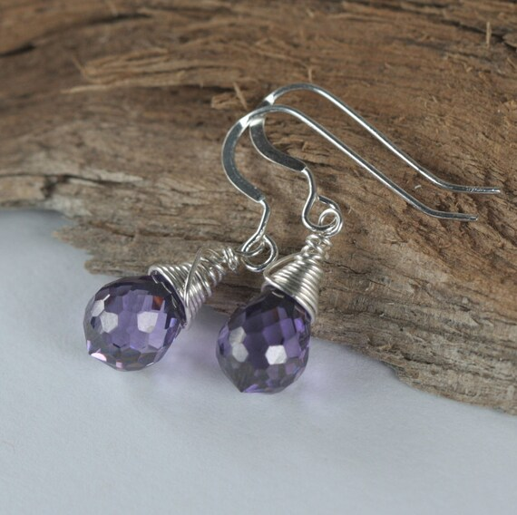 Amethyst Cubic Zirconia and Sterling Silver Earrings.