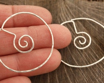Spiral in Circle Unique Hoop Earrings Sterling Silver