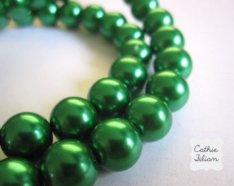 Pearls Emerald Green - 1 Strand of Pearl Beads - 10mm - Glass