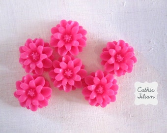 Hot Pink Dahlia Flowers - resin cabochon - Scrapbooking, Jewelry Design, Bobby Pin- set of 6
