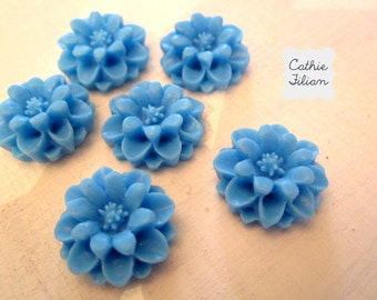 Blue Flowers - resin cabochon - Scrapbooking, Jewelry Design, Bobby Pin- set of 6