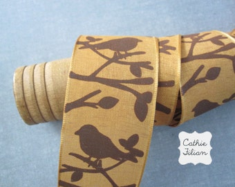Bird Ribbon - 3 yards - Gold and Brown - 1.5 inches wide - wired edge