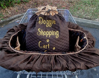 Dog Cart Cover - Shopping Cart Cover - Dogs - Pets - Faux Fur Seat - Embroidered Personalization - Quilted Cotton Tote