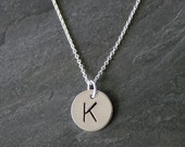 """Monogram Jewelry, Single Letter Charm, Sterling Silver Necklace, Custom Letter Charm, Personalized, Mothers Necklace hand stamped, 18"""" chain"""