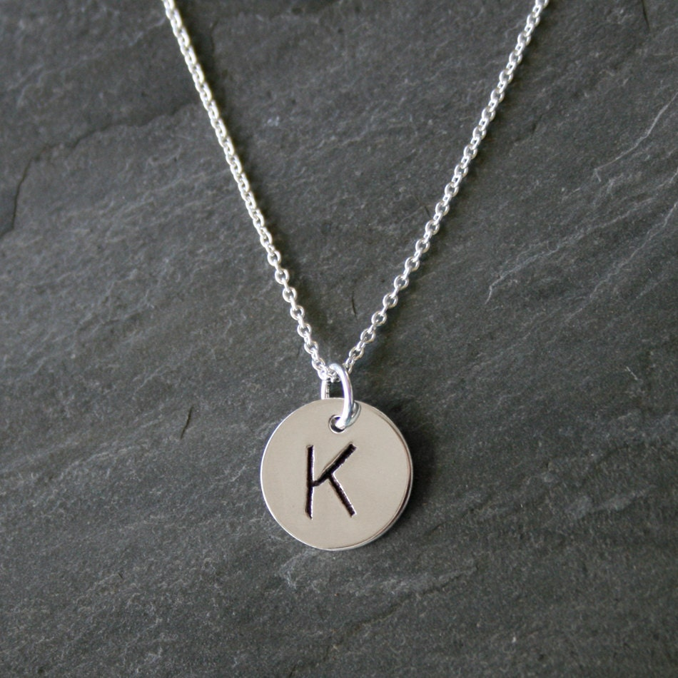 monogram jewelry single letter charm sterling silver With single letter necklace