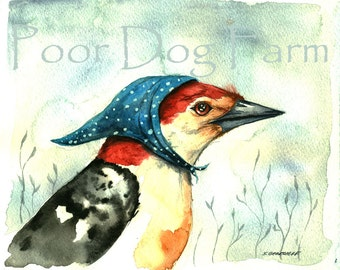 Bird watercolor art- Red-bellied Woodpecker-print after original watercolor